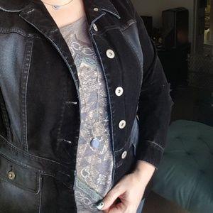 Liz Claiborne Soft Dark Blue Velvet Jean Jacket M